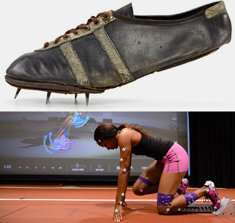 Understanding better equipment isn't very difficult. Above: the shoe worn by gold medal winner Jesse Owens, at the 1936 Olympic games in Berlin. Beneath: a research lab, mapping motions to analyse the forces at play during a sprint.