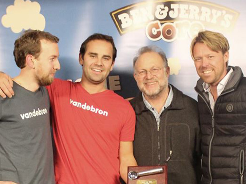 With Jerry Greenfield — 50% of Ben & Jerry's — after we won the international Join Our Core competition in London.